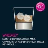 De kaartmalplaatje van de whiskycocktail met prijs en vlakke achtergrond Stock Foto