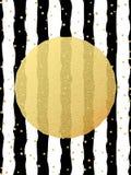 De kaartmalplaatje van de groet Het goud schittert de confettien van foliepunten op gestreepte witte en zwarte achtergrond Eps 10 vector illustratie