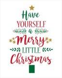 De kaartmalplaatje van de Kerstmisgroet Heb zelf vrolijk weinig Kerstmis stock foto