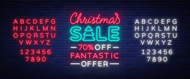 De kaartmalplaatje van de Kerstmisverkoop in neonstijl, vectorillustratie De heldere kortingen van reclamekerstmis voor royalty-vrije illustratie