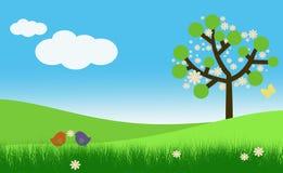 De kaartmalplaatje van Pasen of van de lente met vogels Stock Foto