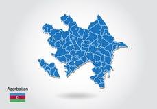 De kaartontwerp van Azerbeidzjan met 3D stijl Blauwe azerbaijan kaart en Nationale vlag Eenvoudige vectorkaart met contour, vorm, stock illustratie