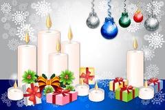 De kaartontwerp van de Kerstmisgroet met kaars, snuisterij en Kerstmiselementen - vetor eps10 Royalty-vrije Stock Foto's
