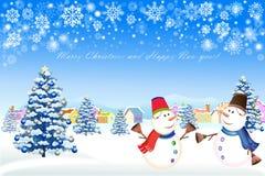De kaartontwerp van de Kerstmisgroet met Kerstmisboom baulbe - vectoreps10 Stock Afbeelding