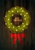 De kaartontwerp van de Kerstmisgroet met Kerstmiskroon op houten achtergrond Royalty-vrije Stock Afbeeldingen