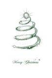 De kaartontwerp van de Kerstmisgroet met wervelende boom Stock Afbeeldingen