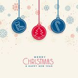 De kaartontwerp van Docrative vrolijk Kerstmis met Kerstmiselementen vector illustratie
