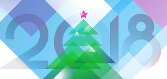 De kaartontwerp van de nieuwjaar 2018 groet met gekleurde Kerstmisboom van diagonale vectorvormen Illustratief malplaatje als ach Vector Illustratie