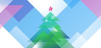 De kaartontwerp van de nieuwjaargroet met gekleurde Kerstmisboom van diagonale vectorvormen Illustratief malplaatje als achtergro Stock Illustratie