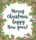 De kaartontwerp van waterverf artistiek hand getrokken Kerstmis met het kader van de sparrenslinger, confettien, van letters voor Royalty-vrije Stock Foto's