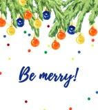 De kaartontwerp van waterverf artistiek hand getrokken Kerstmis met spar, decoratieballen, confettien & het van letters voorzien  Stock Afbeelding
