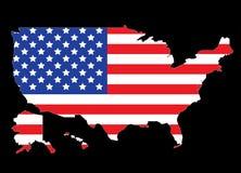 De kaartotline van de V.S. met de vlag van Verenigde Staten Stock Foto's