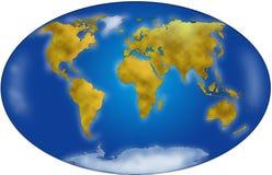 De kaartplanisphere van de wereld Stock Afbeelding