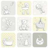 De kaartreeks van de baby Stock Afbeeldingen