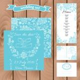 De kaartreeks van de huwelijksuitnodiging met madeliefjebloem malplaatjes Stock Illustratie