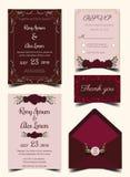 De kaartreeks van de huwelijksuitnodiging met bloemmalplaatjes Royalty-vrije Stock Foto's