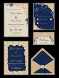 De kaartreeks van de huwelijksuitnodiging met bloemmalplaatjes Stock Fotografie