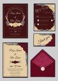 De kaartreeks van de huwelijksuitnodiging met bloemmalplaatjes Royalty-vrije Stock Afbeelding
