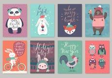 De kaartreeks van Kerstmisdieren, hand getrokken stijl stock illustratie