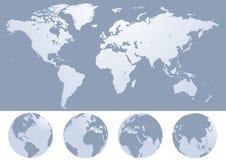 De kaartsilhouet van de wereld   Stock Afbeelding