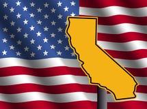 De kaartteken van Californië met vlag Stock Foto