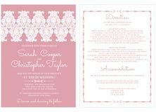 De Kaartuitnodiging van de huwelijksuitnodiging met ornamenten Royalty-vrije Stock Foto's