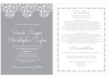 De Kaartuitnodiging van de huwelijksuitnodiging met ornamenten Stock Afbeelding