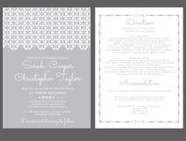 De Kaartuitnodiging van de zilveren bruiloftuitnodiging met ornamenten Royalty-vrije Stock Afbeelding