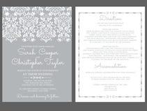 De Kaartuitnodiging van de zilveren bruiloftuitnodiging met ornamenten Stock Afbeelding
