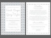 De Kaartuitnodiging van de zilveren bruiloftuitnodiging met ornamenten Stock Fotografie
