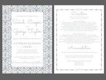 De Kaartuitnodiging van de zilveren bruiloftuitnodiging met ornamenten Royalty-vrije Stock Fotografie