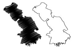 De kaartvector van astrakan Oblast Royalty-vrije Illustratie