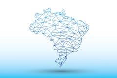 De kaartvector van Brazilië van blauwe kleuren geometrische verbonden lijnen die driehoeken op lichte illustratie gebruiken die a stock illustratie