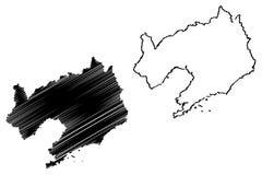 De kaartvector van de Liaoningsprovincie vector illustratie