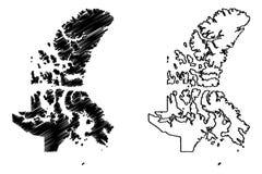 De kaartvector van Nunavutcanada vector illustratie