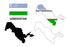 De kaartvector van Oezbekistan, de vlag van Oezbekistan vector, geïsoleerd Oezbekistan Stock Foto's