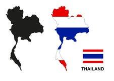 De kaartvector van Thailand, de vlag van Thailand vector, geïsoleerd Thailand Stock Foto