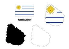 De kaartvector van Uruguay, de vlag van Uruguay vector, geïsoleerd Uruguay Royalty-vrije Stock Foto