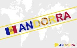 De kaartvlag van Andorra en tekstillustratie royalty-vrije illustratie