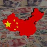 De kaartvlag van China met yuan Stock Foto