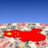 De kaartvlag van China op yuan royalty-vrije illustratie