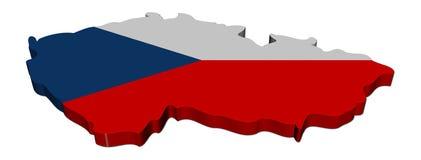 De kaartvlag van de Tsjechische Republiek Stock Fotografie