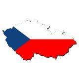 De kaartvlag van de Tsjechische Republiek Royalty-vrije Stock Afbeelding
