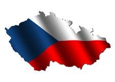 De kaartvlag van de Tsjechische Republiek Stock Afbeelding