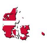 De kaartvlag van Denemarken royalty-vrije illustratie