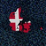 De kaartvlag van Denemarken op de illustratie van de hexuitdraaicode royalty-vrije illustratie