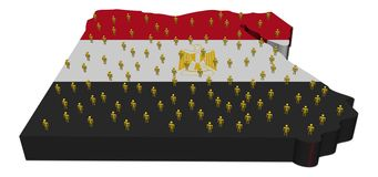 De kaartvlag van Egypte met abstracte mensen stock illustratie