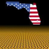 De kaartvlag van Florida met de voorgrondillustratie van het orkaanwaarschuwingsbord vector illustratie