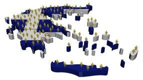 De kaartvlag van Griekenland met mensen royalty-vrije illustratie