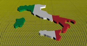 De kaartvlag van Italië op de gouden illustratie van euromuntstukken vector illustratie